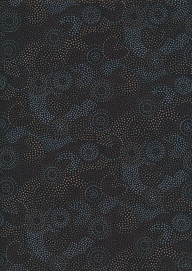 Novelty Fabric - Australasian Blue & Gold Abstract Swirls On Black