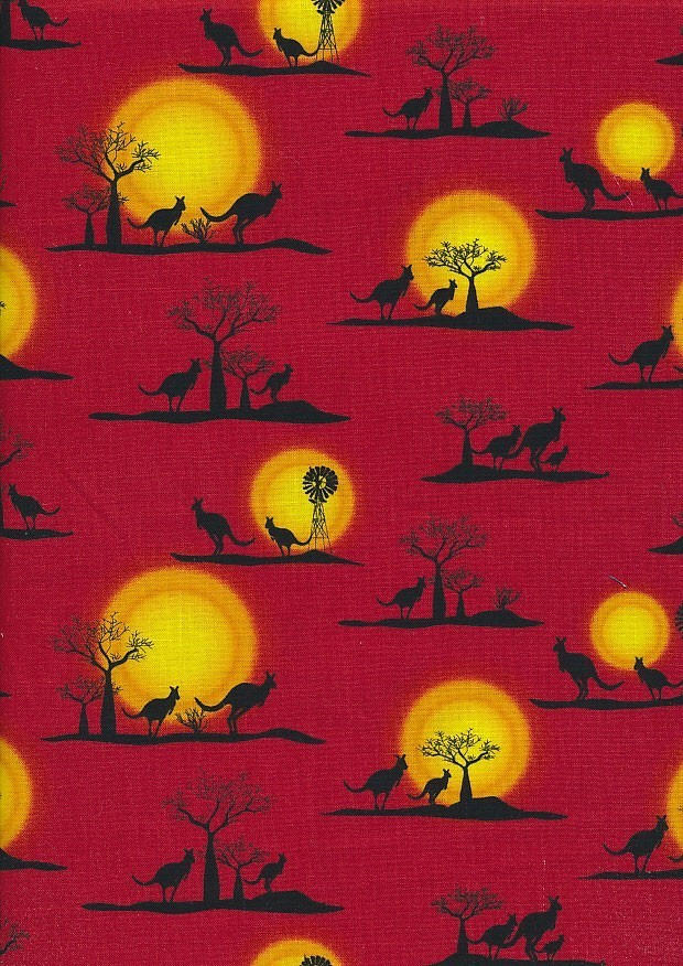 Novelty Fabric - Australasian Kangaroo Sunset On Red