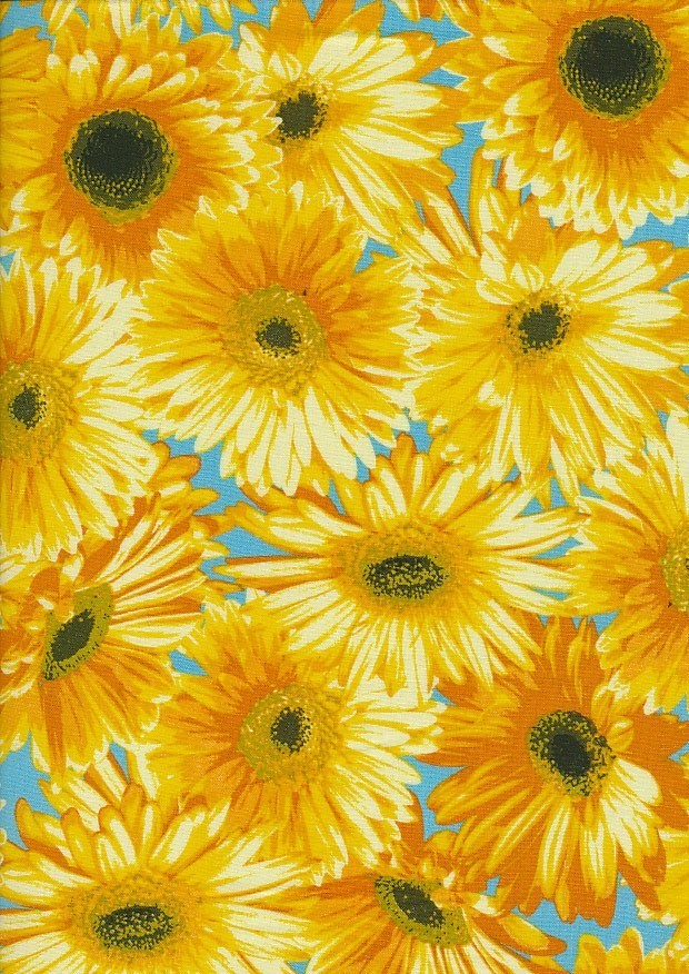 Novelty Fabric - Yellow Sunflowers On Turquoise