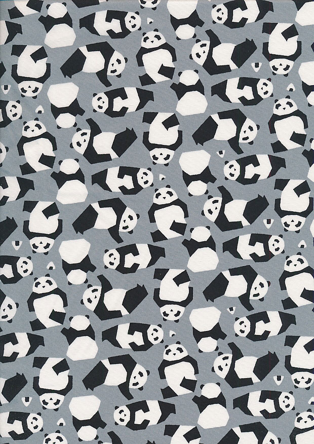 Sevenberry Novelty Fabric - Panda Bears On Grey