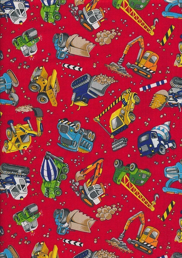 Novelty Fabric - Construction Vehicles On Red