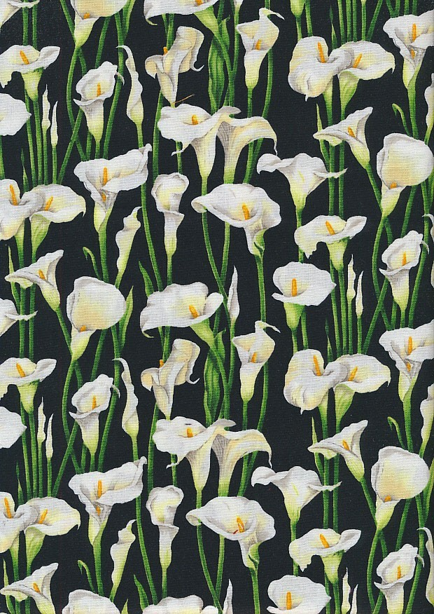 Novelty Fabric - Lillies On Black