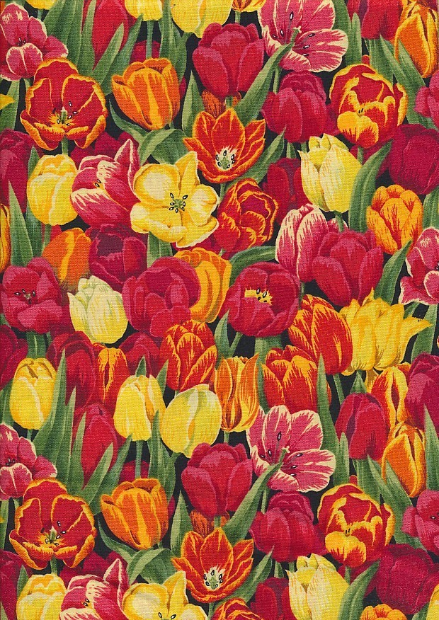 Novelty Fabric - Orange, Red & Yellow Tulips Tightly Packed On Black
