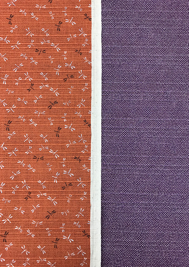 Sevenberry Double Sided Japanese Fabric - Cotton Linen Mix  Dragonfly Orange & Dots Purple