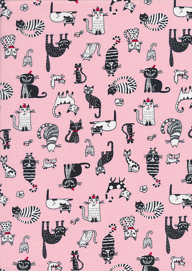 Rose & Hubble - Quality Cotton Print CP-0859 Pink Cats