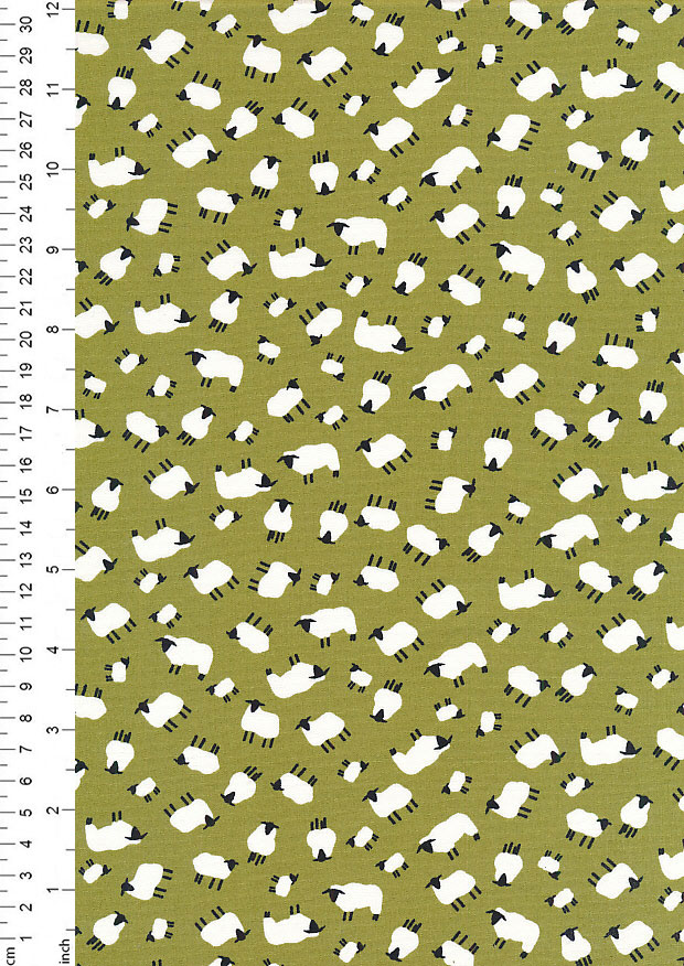 Rose & Hubble - Quality Cotton Print CP-0454 Green Sheep