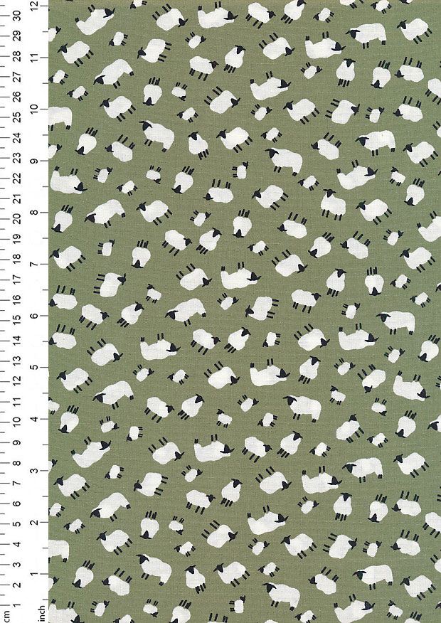 Rose & Hubble - Quality Cotton Print CP-0454 Sage Sheep