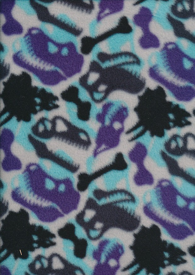 Novelty Fleece - Blue Dinosaur Camo