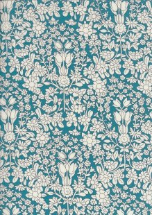 Pima Cotton Lawn - Turquoise Folk Flower