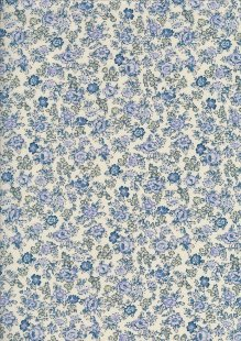Pima Cotton Lawn - Blue Ditsy Rose