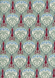 Pima Cotton Lawn - Red Art Nouveau