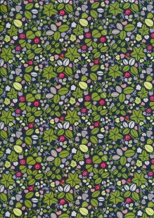 Pima Cotton Lawn - Navy Mini Strawberry