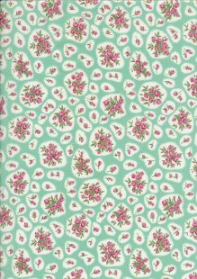Pima Cotton Lawn - Mint Kathy Rose