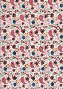 Pima Cotton Lawn - Pink Ditsy Paisley