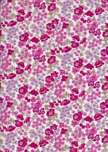 Pima Cotton Lawn - Cerise Country Garden