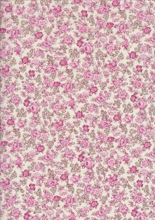 Pima Cotton Lawn - Pink  Ditsy Rose