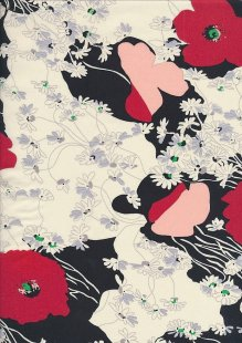 Pima Cotton Lawn - Black Japanese Poppy