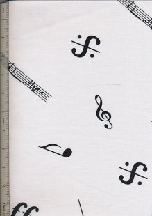 Poly Cotton Novelty - White Musical Notes