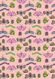 Lewis & Irene - Our Friends In The Garden A80.3 Bugs on Warm Pink