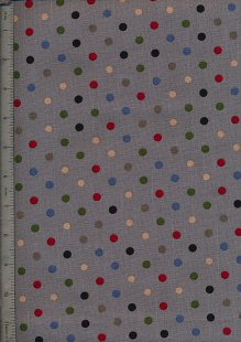 Linen Look Cotton - Grey With Multi Spot