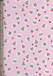 Purse Friendly Print - Pink With Red Rose - 100% Cotton Fabric