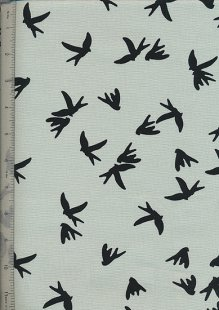 Linen Look Cotton - Birds Mint