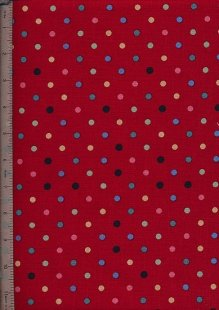Linen Look Cotton - Red With Multi Spot