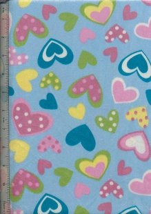Short Pile Printed Minky - Blue Hearts
