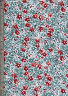 Peter Horton's South Island Lawn Collection - White With Green And Red Floral