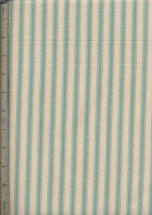 Canvas Ticking  - Turquoise & Cream