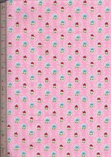 Purse Friendly Print - Pink With Red & Blue Floral - 100% Cotton Fabric