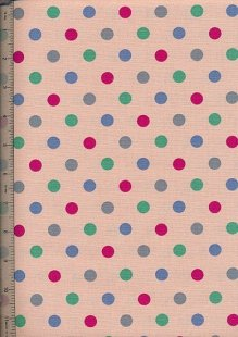 Linen Look Cotton - Pink With Large Multi Spot