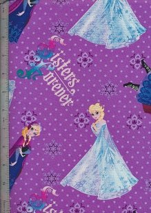 Disney's Frozen Fabric - Elsa & Anna Sisters Forever On Purple Spot