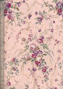 Linen Look Cotton - Floral Small Rose Pink