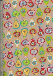 Linen Look Cotton - Apples & Pears 8301-2