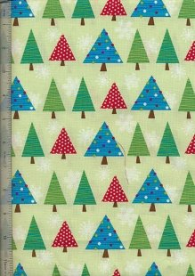 Benartex Christmas By Mitzi Powers - Green Christmas Trees