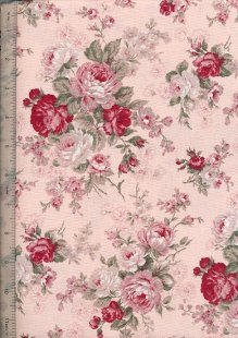 Linen Look Cotton - Floral Rose Pink