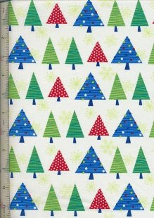 Benartex Christmas By Mitzi Powers - Ivory Christmas Trees