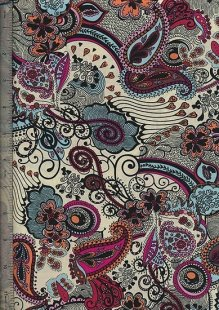 Peter Horton's South Island Lawn Collection - Cream With Pink And Blue Paisley