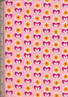 "John Louden 60"" Wide Fabric - Retro Flower On Pink"