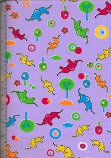 Poly Cotton Novelty - Purple Elephants