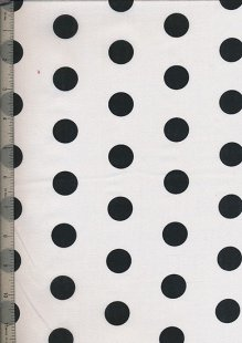 Poly Cotton Novelty - White With Black Spot