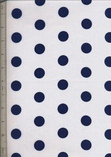 Poly Cotton Novelty - White With Navy Spot
