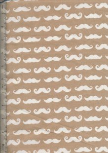 "John Louden 60"" Wide Fabric - Moustaches on Brown"