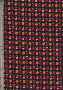 "John Louden 60"" Wide Fabric - Fruit On Black"