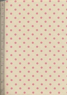 Linen Look Cotton - Small Baby Pink Spot Cream