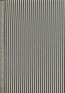 Linen Look Cotton - Black & Cream Stripe
