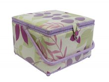 Large Sewing Box - Lilac & Green Leaves On Cream GB1024