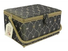 Large Sewing Box - Brown With Gold Embroidered Pattern GB1015