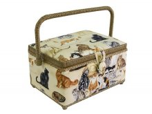 Medium Sewing Box - Cat Breeds on Cream GB1086